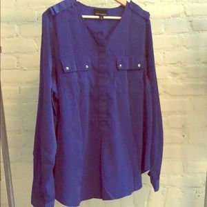 Cynthia Rowley Size XL Royal Blue Blouse